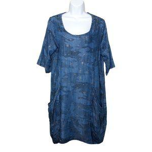 Vasna Chambray blue Metallic Star Print Dress